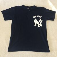 New York Yankees Shirt Size Large Majestic Navy Henley