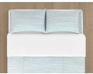Calvin Klein Henley Modern Jersey Knit King Duvet Cover Aqua Stone Cotton Modal