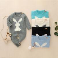 Newborn Baby Girls Boys Winter Warm Knit Rabbit Sweater Romper Jumpsuit Outfits