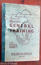 WWII Australian Manual General Training  Civil Defence Handbook 1943 Bombs Gas