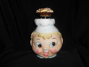 Lefton Vintage BAKER BOY MUSIC Box COOKIE JAR Figural Chef Ceramic