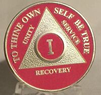 Pink & Silver Plated One Year AA Chip Alcoholics Anonymous Medallion Coin 1