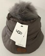 UGG Australia Womens All Weather Bucket Hat W/Pom Stormy Gray Size S/M