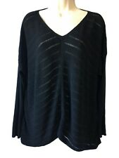 EILEEN FISHER Black Lagenlook Sweater Boho Layering Knit Jumper Relaxed L 50""