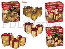 SET OF 3 LED LIGHT UP CHRISTMAS BOXES  GIFT PARCEL PRESENT BOX DECORATION