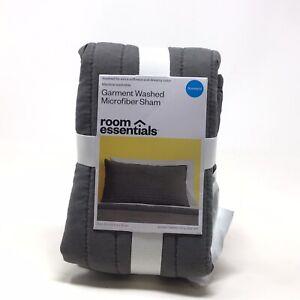 Room Essentials Garment Washed Microfiber Sham Standard Charcoal