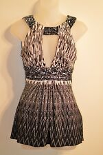 Sky Clothing Brand S Tank Top Black White Printed Keyhole Plunge Braided Tunic