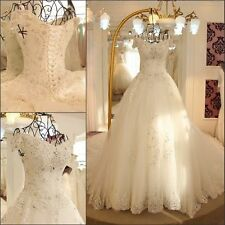 Luxury Cathedral Train Lace Wedding Dresses Beaded Crystals Sequins Bridal Gown