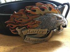 Harley Davidson Belt And Buckle Eagle-flames Rare 1997 Leather Embossed L 36/38