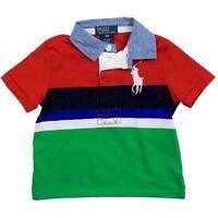 Polo Ralph Lauren Infant Boy's Classic Big Pony Red Multi Cotton Polo Shirt
