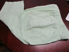 QUACKER FACTORY M GREEN/WHITE STRIPED SEERSUCKER CROP PANTS 20.5 IN INSEAM