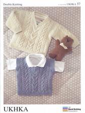 Double Knitting DK Pattern Baby Sweater Slipover Kids Jumper Pullover UKHKA 57