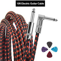 10ft Premium Noiseless Electric Guitar Bass Cable Musical Instrument Cord 1/4""