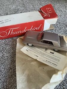 """OLD 1963 ROSE BEIGE FORD THUNDERBIRD COUPE 1/25 SCALE 8"""" DEALER PROMO CAR"""
