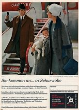 1958 AD SWISS REINE SCHURWOLLE FABRIC SWISSAIR HAPPY FAMILY LAMB