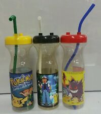 Nintendo Pokemon Lot of 3 Yellow Black Red 1999 Promotional Water Bottle RARE