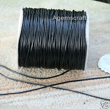 1.5mm Black Waxed  Korean polyester braided Leather like Cord cut to order new