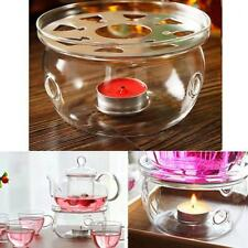Clear Glass Teapot Warmer Heat Resistant Round Herbal Tea Pot Base Holder