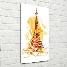 Wandbild Kunst-Druck auf Hart-Glas hochkant 70x140 Sommer in Paris