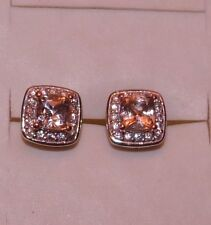 1.55 STUNNING CUSSION CUT  COR-DE-ROSA  MORGANITE & ZIRCON  PIERCED  EARRINGS