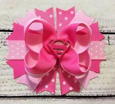 5'' Pink Supergirl Stacked Boutique Hair Bow Handmade