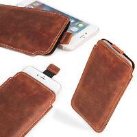 ECHT LEDER Hülle für OnePlus 7T Tasche Schutz Case Etui Cover XL BRAUN