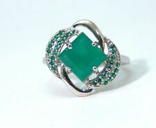 Green Agate Sterling Silver Ring Anti Tarnish Size 8 Carat weight 2.65