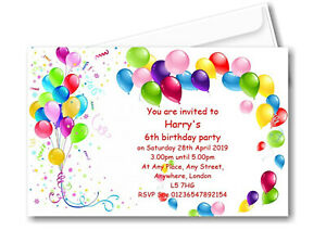 30 Personalised Birthday Party Balloons Invitations - Invites Boy or Girl B63