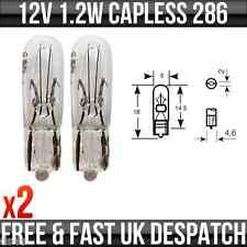 12v 1.2w senza cappuccio Dashboard, Pannello, Speedo, Strumento Lampadine Di Ricambio 286 x 2