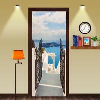 Ocean Door Courtyard Self-Adhesive Door Murals Sticker Wall Room Decal FREE SHIP