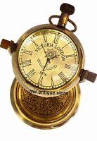Victoria London 1876, Maritime 5'' Nautical Antique Brass Desk Clock
