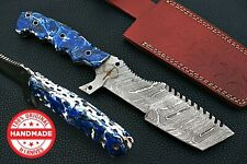 SI BEAUTIFUL HAND MADE DAMASCUS STEEL TRACKER HUNTING KNIFE   TANTO BOWIE KNIFE
