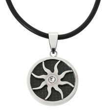 Carbon Cutout Sun Stainless Steel Cord Necklace Jewelry