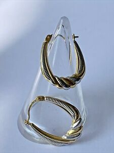 Pair 9ct Yellow & White 375 Gold Ladies Creole Hoop Decorated Earrings