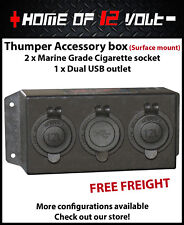 Thumper Accessory box 2 x Cigarette + Dual USB outlet Surface mount 12 Volt /24V