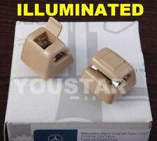 AU STOCK 2x ILLUMINATED Cream Beige Sun Visor Clips Mercedes W126 W201 W123 W124