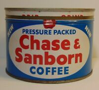 Vintage 1940s CHASE SANBORN COFFEE KEYWIND COFFEE TIN CAN 1 POUND NEW YORK USA