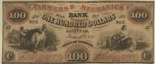 1860 Savannah. GA- Farmers & Mechanics Bank $100 VF