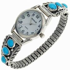 Sleeping Beauty Turquoise Ladies Watch Navajo Signed Tips