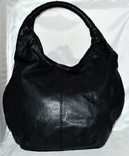 H&M Hennes Mauritz Black Faux Leather Shoulder Hobo Bag w/ Rounded Braided Strap