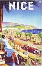 1930's Niza Francia Turismo Viaje Cartel A2 Reimpresión