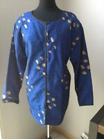 Womens Ashro Blue Gold Silk Button- Up Jacket Size 1X