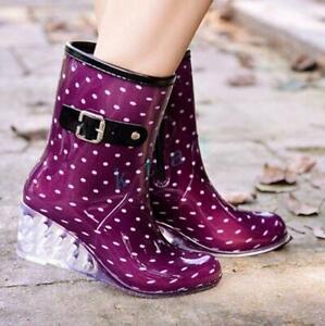 Sweet Womens Wedge Multi Colors Ladies Waterproof Rain Mid Boot Shoes Rain boot