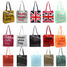 Ladies Medium Black Red Pink Brown Silver Grey Blue Green Purple Tote Bag