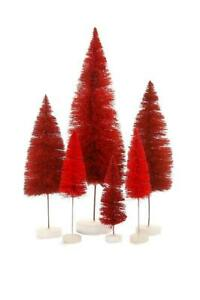 Ombre Hue Christmas Village Bottle Brush Trees Set of 6 Red Colors