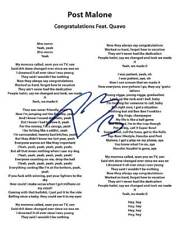 Post Malone signed Congratulations lyrics8X10 photo picture poster autograph RP