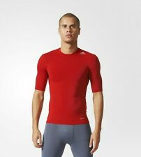 Adidas Men's Training Techfit Base Top Compression Short Sleeve AJ4968 Red SMALL