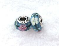 2 PANDORA Silver S925 ALE Murano Charm Pink White Flowers Blue Beads #058