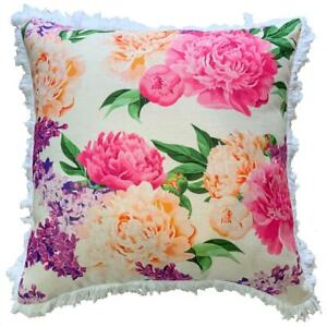 Charlotte - Premium Cushion Cover | Quality Fringed Indoor Outdoor Pink Floral