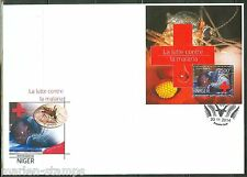 NIGER  2014  BATTLE AGAINST MALARIA RED CROSS SOUVENIR SHEET  PERFORATED FDC